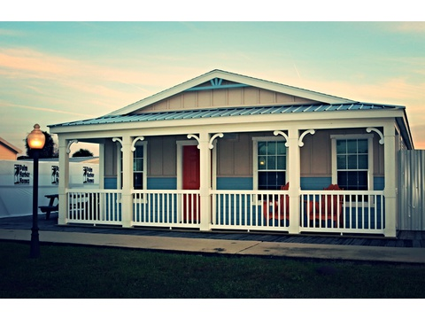 Front exterior with full porch - Siesta Key II P2566Q by Palm Harbor Homes