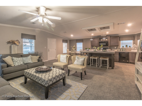 Living room with kitchen and dining area in the background - Siesta Key II P2566Q by Palm Harbor Homes