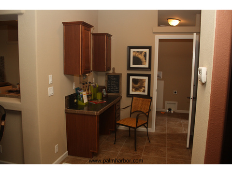 Built-in study/work desk next to the utility room - The Mt. Shasta 5V465A4, Palm Harbor Homes