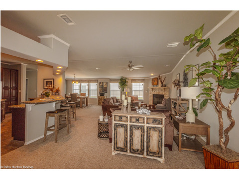 Welcome home to the Hacienda, great room with optional fireplace - 4 Bedrooms, 3 Baths, 2,338 Sq. Ft. - www.palmharbor.com