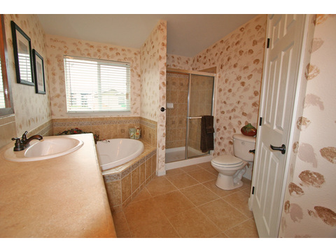 Master bathroom - The Metolius Cabin N5P264K1, Palm Harbor Homes