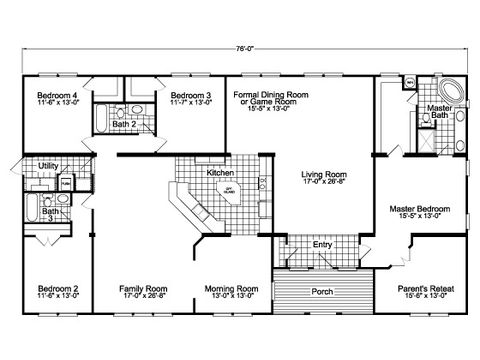 Alternate floor plan layout with kitchen facing the family room for the Gotham SCWD76F8 triple wide home by Palm Harbor Homes