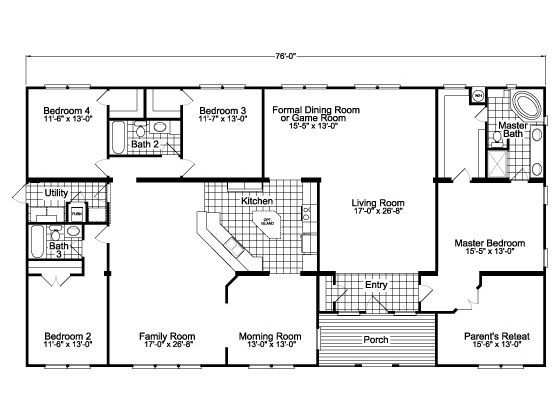 Perfect ... Palm Harbor Homes. Alternate Floor Plan Layout With Kitchen Facing The  Family Room For The Gotham SCWD76F8 Triple Wide