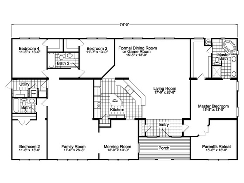 The gotham vr41764b manufactured home floor plan or for Wide house floor plans