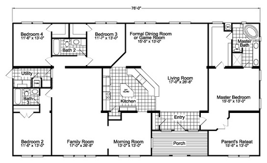 Floor Plan:Floor plan with center-of-the-universe kitchen Facing Living Room - The Gotham SCWD76F8 triple wide by Palm Harbor Homes