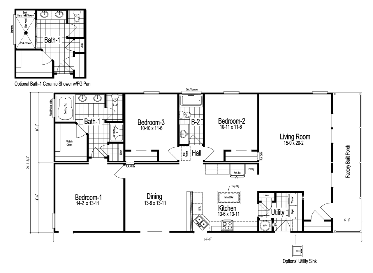 Wilmington manufactured home floor plan or modular floor plans for Deck plans for mobile homes