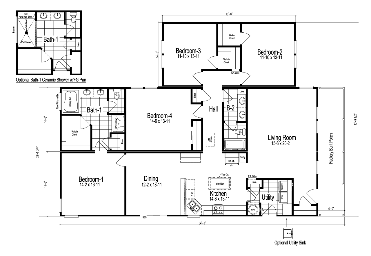 Wilmington ii 4 bedroom manufactured home floor plan or for Www home plan