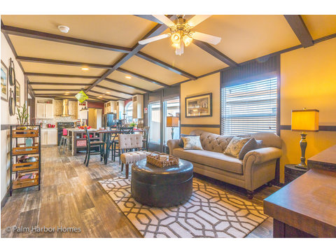 View from the family room / den towards dining area and kitchen - Model PE32604F, 4 Bedrooms, 2 Baths, 1,840 Sq. Ft.
