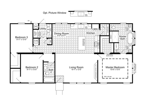 Alternative 28' wide version - The Urban Homestead FT28563C Floor Plan (1,530 Sq. Ft.)