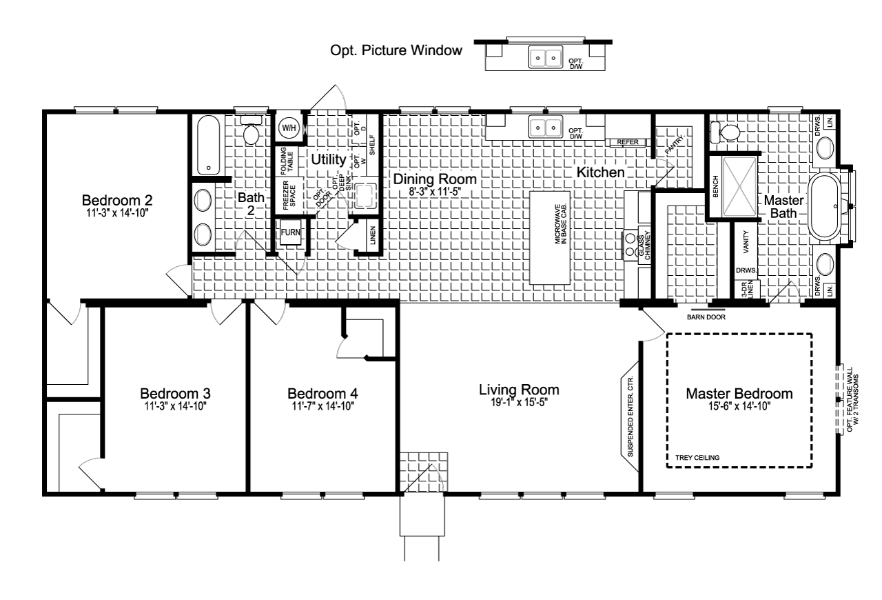 The urban homestead ft32563c manufactured home floor plan for Urban home plans