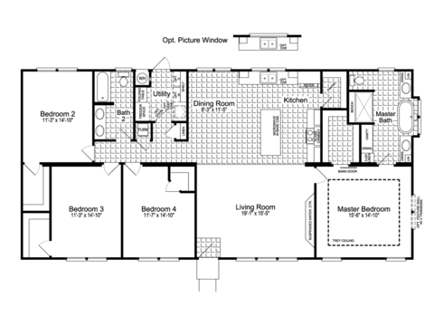 4-Bedroom Option - The Urban Homestead II FT32644C Floor Plan (1,984 Sq. Ft.) - a smaller 28' wide version also available