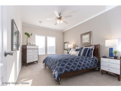 The master bedroom in the Buena Vista #manufacturedhome by Palm Harbor Homes - 2 Bedrooms, 2 Baths, 1,109 Sq. Ft. - Porch included