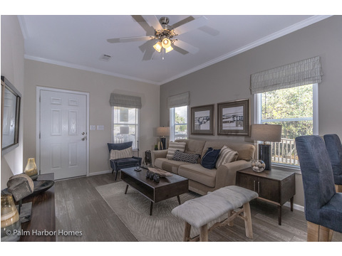 A different angle on the living room in the Buena Vista #manufacturedhome by Palm Harbor Homes - 2 Bedrooms, 2 Baths, 1,109 Sq. Ft. - Porch included