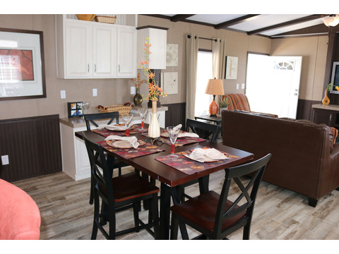 Dining area with built-in hutch -  Model 16763R single wide manufactured home with 3 Bedrooms, 2 Baths, 1,185 Sq. Ft. available from Palm Harbor Homes
