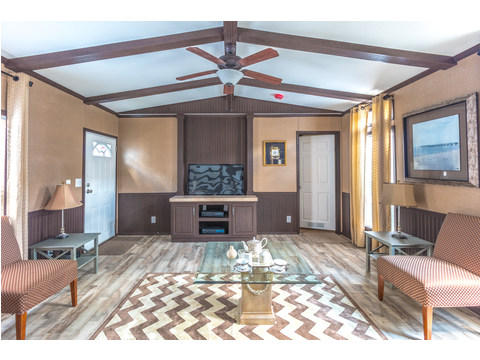 Living room with optional built-in entertainment center -  Model 16763R single wide manufactured home with 3 Bedrooms, 2 Baths, 1,185 Sq. Ft. available from Palm Harbor Homes