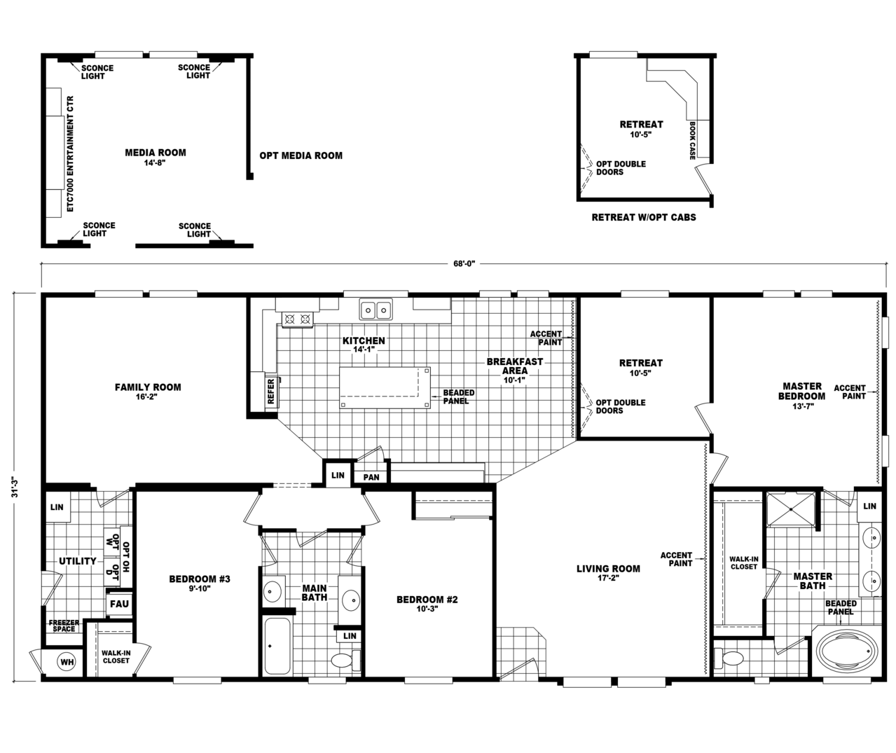 The pecan valley iii hi3268a manufactured home floor plan for Standard homes plans