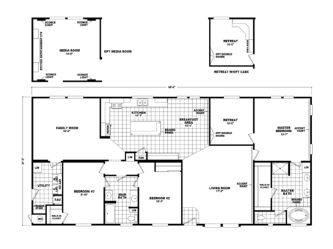 The pecan valley iii hi3268a manufactured home floor plan for House plans with media room