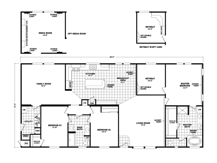Retreat house plans with pics for Master retreat floor plans