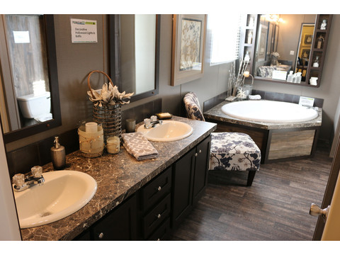 Stunning master bath with dual vanities! No more early morning traffic jams!