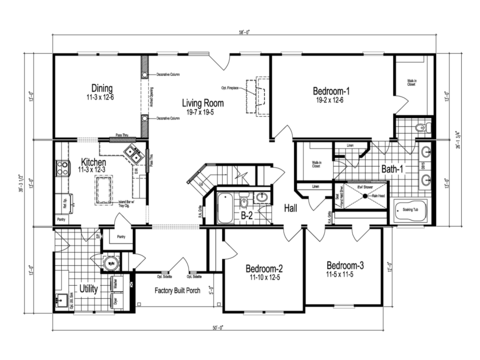 >The Richland - First Level Floor Plan