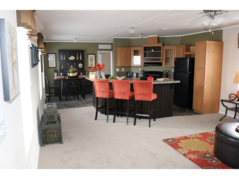 The open living area of the Grand Cypress manufactured home featuring 3 Bedrooms, 2 Baths, 1178 Sq. Ft. - www.palmharbor.com