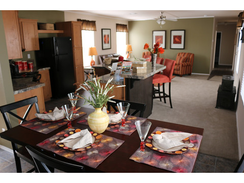 Built in buffet and hutch in the dining area for convenient storage from day one in the  living room of the Grand Cypress manufactured home featuring 3 Bedrooms, 2 Baths, 1178 Sq. Ft. - www.palmharbor.com