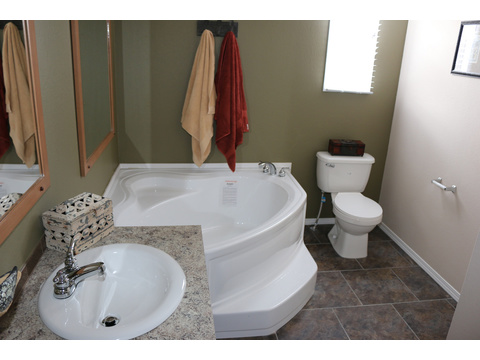 Double sinks, lots of storage and a glorious spa tub in the master bath of the Grand Cypress manufactured home featuring 3 Bedrooms, 2 Baths, 1178 Sq. Ft. - www.palmharbor.com