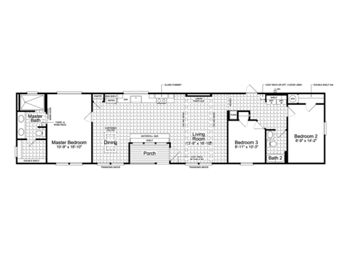"Alternative floor plan, the Lago Mira FF18763J - 1,282 Sq. Ft., 17'6"" x 76', 3 bedrooms, 2 baths"
