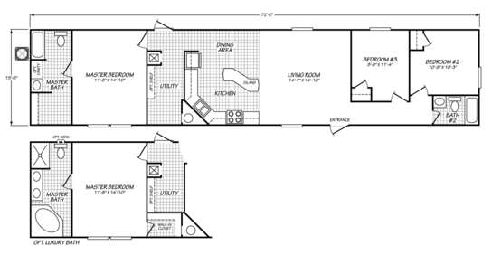 Floor Plan:Standard floor plan with optional master suite design