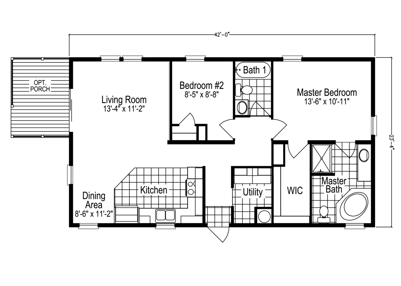 The addison sl2506e or tl24422a manufactured home floor for Home builders floor plans