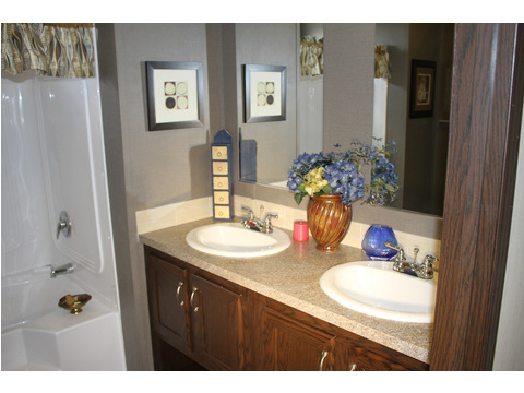 Gorgeous guest bath provides rare 2 sink arrangement for the second bath.