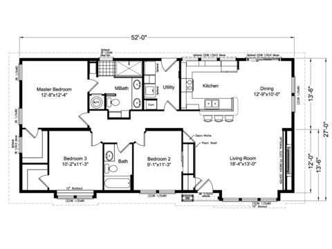 The Lakeport AD28523L - Alternative floor plan with the optional shower and notched exterior - by Palm Harbor Homes