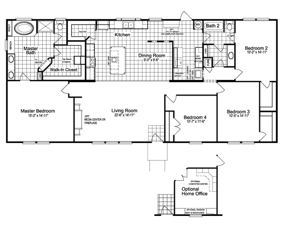 4 bedroom 3 bathroom mobile home floor plans thefloors co for 4 bedroom 3 bath floor plans