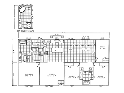 Optional 32' wide Model PH32604F Floor Plan, 1,840 Sq. Ft.