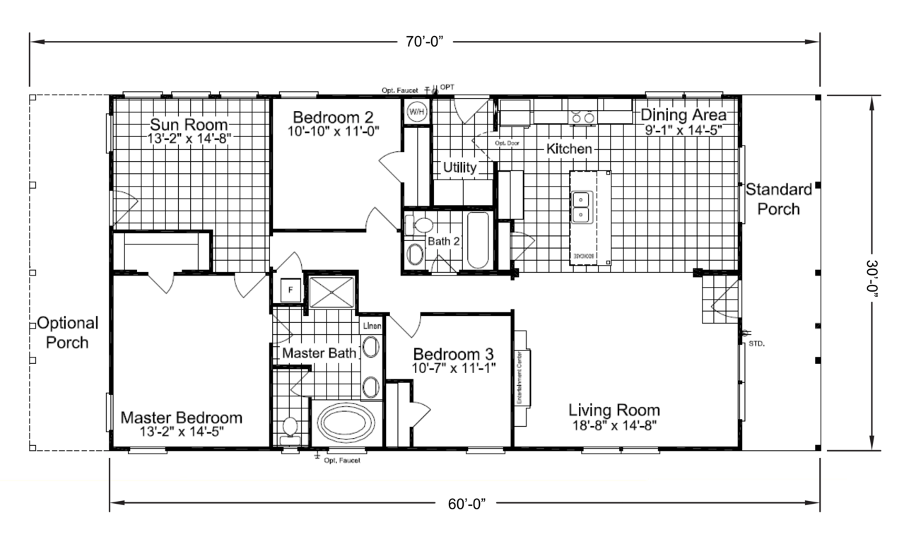 the retreat 30603r manufactured home floor plan or modular