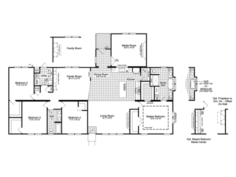 The Urban Homestead III Flex FT47764B floor plan with Media Room Option, 2,674 Sq. Ft. with covered back porch