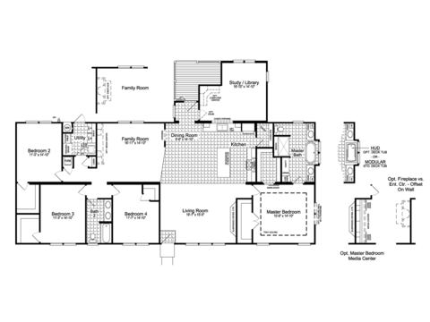 The Urban Homestead III Flex FT47764B floor plan with Study / Library Option, 2,628 Sq. Ft. with wrapped covered back porch