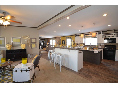 Huge island kitchen with cabinets galore and full appliance package including dishwasher - The Benbrook KHT464F2 by Palm Harbor Homes