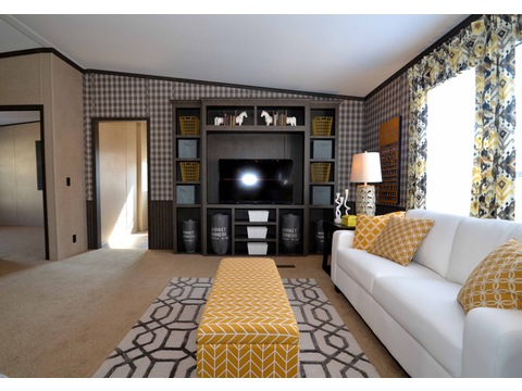 Built in entertainment system ensures that this is where all your friends and family will be to watch football every weekend :) - The Benbrook KHT364F2 by Palm Harbor Homes