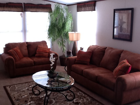 Open living area in the Brazos manufactured home by Palm Harbor Homes.