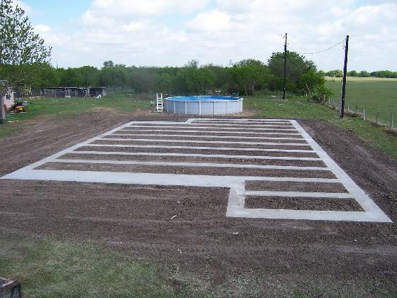 A typical concrete runner foundation.
