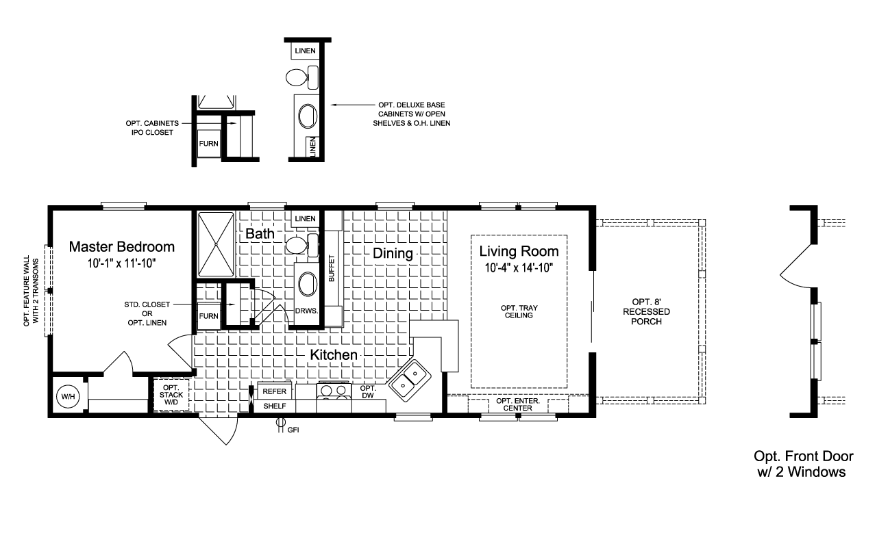 View the sunset cottage i floor plan for a 620 sq ft palm for Sunset house plans