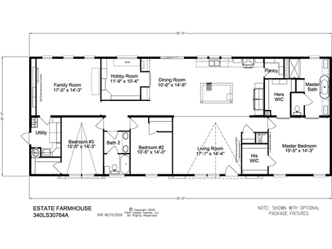 Floor plan layout for the Estate Farmhouse Model 30764A - Available in Florida only.  Tour it at Palm Harbor in Plant City, Florida.