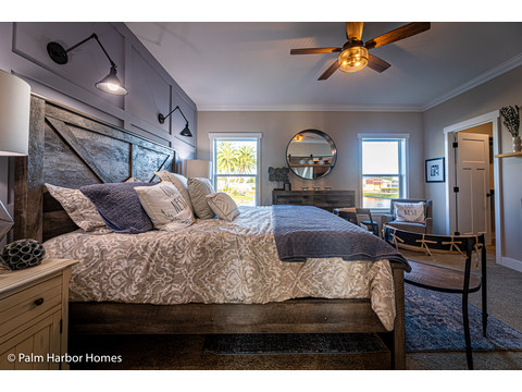 Master bedroom in the Estate Farmhouse LS30764A 3 Bedrooms, 2 Baths, 2,280 Sq. Ft. – By Palm Harbor Homes – Available in Florida ONLY – Not Alabama, Georgia or Mississippi.