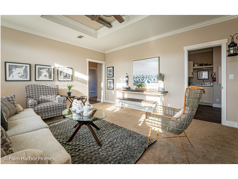 The Familly Room in the Estate Farmhouse LS30764A 3 Bedrooms, 2 Baths, 2,280 Sq. Ft. – By Palm Harbor Homes – Available in Florida ONLY – Not Alabama, Georgia or Mississippi.