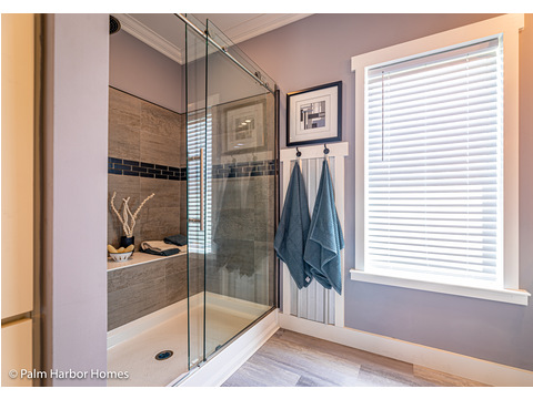 Master Shower for the Master Bath in the Estate Farmhouse LS30764A 3 Bedrooms, 2 Baths, 2,280 Sq. Ft. – By Palm Harbor Homes – Available in Florida ONLY – Not Alabama, Georgia or Mississippi.