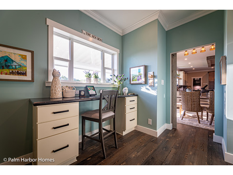 Desk in the Hobby room in the Estate Farmhouse LS30764A 3 Bedrooms, 2 Baths, 2,280 Sq. Ft. – By Palm Harbor Homes – Available in Florida ONLY – Not Alabama, Georgia or Mississippi.