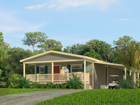 Monet II - artist's rendering showing optional full porch