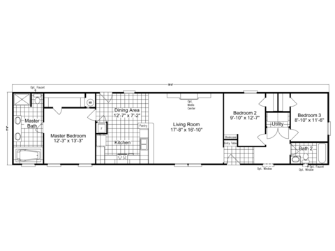 Also available in 76' wide (1,330 Sq. Ft.) - The Southland SM18763S Floor Plan