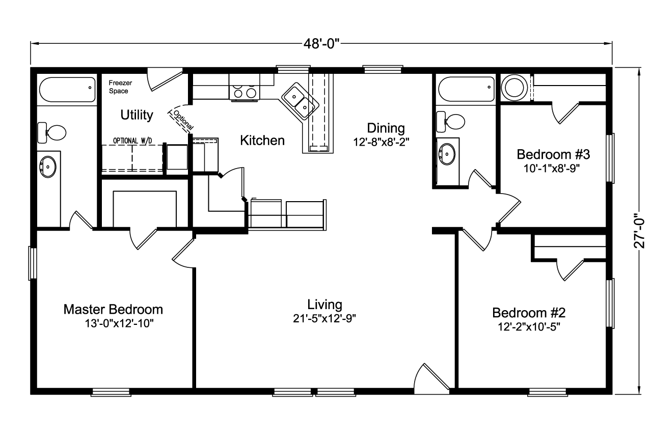 Wide Living Room Kitchen Floor Plan